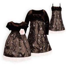 Brown stretch velvet. Pink pearl beads decorate embroidered taffeta skirt. Attached slip with soft sparkle pink tulle ruffle extends below hemline. Pi