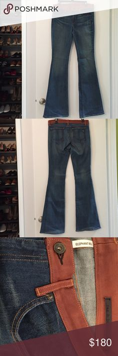 Rag and Bone Elephant Bell jean leather waist trim Rag and Bone Elephant Bell jeans. Vintage color, 98% cotton 2% polyeurethane, 100% lamb leather. Soft and a great shape! NWOT never worn rag & bone Jeans Flare & Wide Leg
