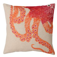 @Overstock.com - Ombre Octopus Square Throw Pillow (16 x 16) - Add a pop of color to your living space with this octopus accent pillow. This stylish square pillow has knife edging, which gives it a modern look. The cover is removable to ensure easy cleaning, and the orange-and-red design will liven any room.  http://www.overstock.com/Home-Garden/Ombre-Octopus-Square-Throw-Pillow-16-x-16/7958303/product.html?CID=214117 $29.99