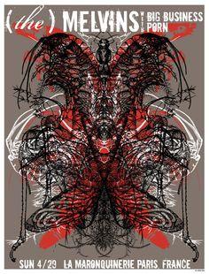 Seldon Hunt : Melvins in Paris Tour Posters, Burlesque, North America, Paris, Montmartre Paris, Paris France
