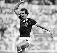 Joe Jordan celebrates scoring Scotland's first goal during the FIFA World Cup Group 6 match between the Soviet Union and Scotland at the Estadio la Roselada in Malaga on 22nd June 1982. The match ended in a 2-2 draw. (Photo by Chris Smith/Popperfoto/Getty Images)