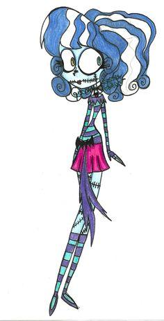 Esmerelda Lightning-Boom a Frankenstein Girl with Wacky Fashion. Kinda like Sally from The Nightmare Before Christmas.