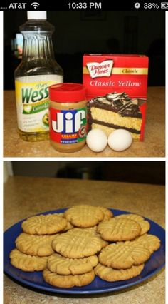 1 box yellow cake mix, 2 eggs, half cup of oil and a cup of peanut butter. Bake for 10 minutes at 350 for the easiest peanut butter cookies ever. OR add in 1/2 bag chocolate chips, spread into a 9x13, bake at 350 for about 20-25 minutes. Let cook completely for best results. *may be frozen so you don't eat the whole batch in one sitting.
