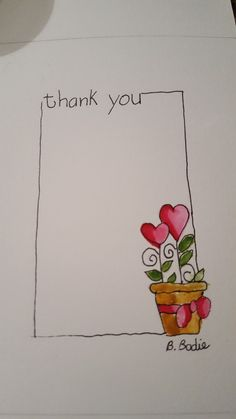 Thank you card design Paint Cards, Happy Paintings, Flower Doodles, Watercolor Cards, Creative Cards, Diy Cards, Homemade Cards, Doodle Art, Note Cards