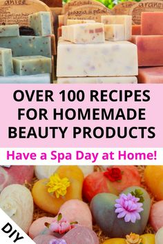 Create your DIY spa day at home with over 100 recipes for homemade beauty products. Ideas for foot soaks, lip scrubs, bath bombs, facial masks. All simple skin care recipes to make at home. Pamper yourself with these natural ingredients for spa treatmen Diy Spa Day, Spa Day At Home, Spa Tag, Diy Scrub, Peeling, Homemade Beauty Products, Natural Products, Wellness, Spa Treatments