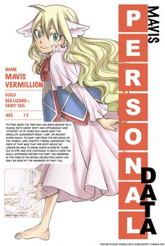 The Fairy's Tales — Mavis' personal data from Monthly Fairy Tail...
