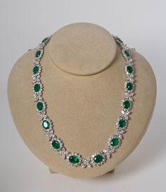 Oval Cut Green Emerald & Diamond Tennis Necklace Solid Rose Gold Over Diamond Necklace Set, Emerald Necklace, Emerald Jewelry, Gold Jewelry, Diamond Jewelry, Platinum Jewelry, Vintage Jewellery, Glass Jewelry, Diamond Rings