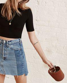 denim skirt / black crop top