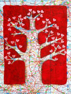 Love tree painted on map