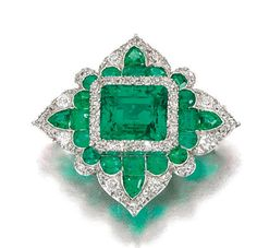 Emerald And Diamond Brooch Designed As A Lozenge Set With Step, Circular-Cut Shaped Emeralds, Circular And Single-Cut Diamonds, Detachable Brooch Fitting