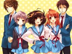 The Melancholy of Haruhi Suzumiya- Meet the gang (from the left): Itsuki Koizumi, Yuki Nagoto, Haruhi Suzumiya, Mikuru Asahina and Kyon. Love this anime!! ^_^