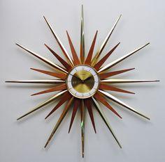Mid Century Modern Starburst Wall Clock by Forestville, Atomic Fireworks…