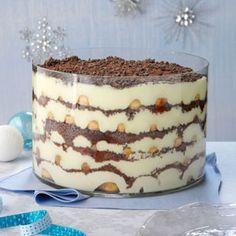 Eggnog Tiramisu Trifle Recipe from Taste of Home -- An opulent presentation that is almost too good to eat. —Tonya Burkhard, Davis, Illinois