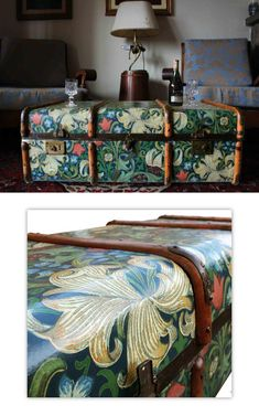 upcycled furniture Coffee table made from upcycled steamer trunk decorated with William Morris wallpaper, available for 300 from Etsy UK Upcycle Home, Upcycled Home Decor, Unique Home Decor, Reuse Recycle, Upcycled Crafts, Upcycled Vintage, Repurposed, William Morris Wallpaper, Morris Wallpapers