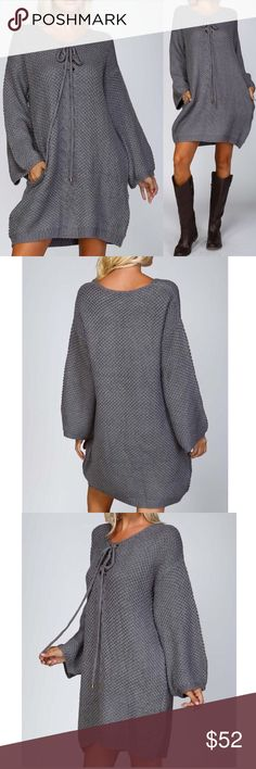 "🆕 Chunky knit lace up sweater tunic dress Chunky knit crochet sweater dress Lace up front with 8 grommets Side seam pockets on either side Extra wide body Drop shoulders with extra wide bishop wide sleeves loose relaxed fit  Material: 45% acrylic, 20% viscose, 10% spandex, 25% mohair Model is 5'10"" 34B-24-34 and wearing a small.Item has good stretch  Approximate Measurements:  Small: Armpit to Armpit: 24"" Length: 33""  Medium: Armpit to Armpit: 25"" Length: 33.5""  Large: Armpit to Armpit: 27""…"