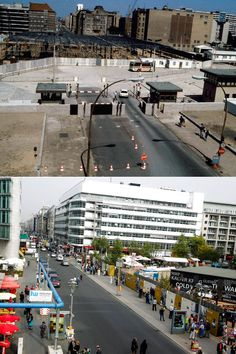 Berlin Wall: Then and Now - Construction work going on at the Berlin Wall in August, 1985, and (below) a scene of Friedrichstrasse in October, 2014.