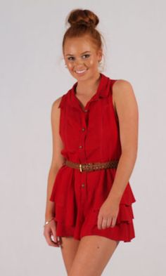 Ladakh Folly Playsuit. Super cute, red ruffled playsuit with a braided belt that is also included. Combine with sandals or combat styled boots like pictured for festival season wear.