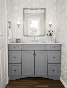 Bathroom Remodel Brewster Trellis Grey Montauk Wallpaper Everything You Need To Know About Fabulous Bathroom Cabinets DIY Small Bathroom Renovations, Bathroom Renos, Grey Bathrooms, Bathroom Furniture, Modern Bathroom, Bathroom Hacks, Bathroom Ideas, Grey Bathroom Cabinets, Minimalist Bathroom