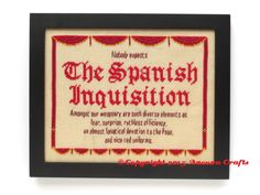 monty python spanish inquisition cross stitch projet
