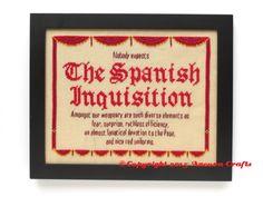 monty python spanish inquisition cross stitch projet