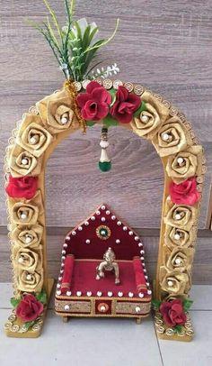 Kalash Decoration, Decoration For Ganpati, Baby Shower Decorations, Flower Decorations, Wedding Decorations, Easy Crafts, Diy And Crafts, Arts And Crafts, Janmashtami Decoration