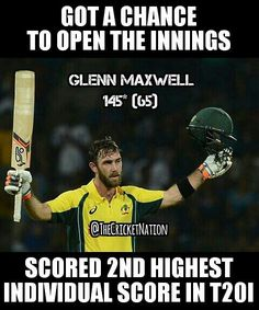 Glenn Maxwell's brilliant unbeaten 145 was the 2nd highest individual score in T20I & also it helped Australia to score highest total in T20I of 263-3 in 20 Ovrs vs Sri Lanka.
