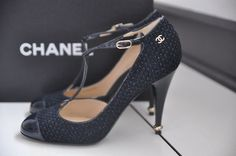Auth Chanel Cap Toe CC Logo Tweed Heel T Strap Mary Jane Pump Heels 10 40 | eBay