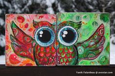Yanik Falardeau - Google+These are my cute little Woo Owls! I've called the Collection Woo Hoo ! ;-) Mixed Media on recycled wood. The eyes are created using several layers of superimposed circles! They can stand alone on a shelf, but together they become one! They make me happy! Have an awesome day, my friends