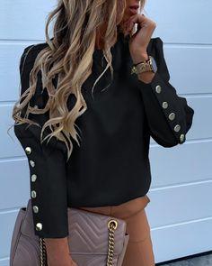 Elegant Women Button Blouse Shirt Office Ladies O Neck Print Blusa Top Trend Fashion, Look Fashion, Womens Fashion, Estilo Fashion, Steampunk Fashion, Gothic Fashion, Belle Silhouette, Mode Hijab, Basic Tops