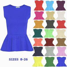 Womens Sleeveless Peplum Top Frill Skater Flared Mini Bodycon Dress 8-22