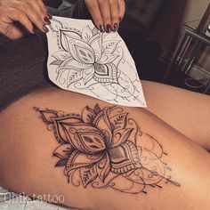tattoos for women long lasting - Tattoo Ideas Flower Leg Tattoos, Side Hip Tattoos, Hip Thigh Tattoos, Floral Thigh Tattoos, Leg Tattoos Women, Thigh Tattoo Designs, Sunflower Tattoos, Back Of Thigh Tattoo Women, Side Leg Tattoo