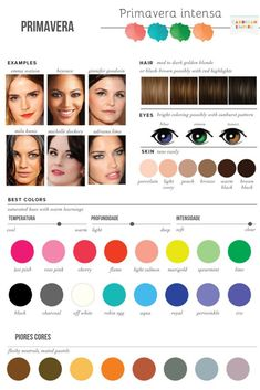 Best & Worst Colors for Spring, Seasonal Color Analysis - Color theory - Bright Spring, Clear Spring, Spring Colors, Warm Spring, Deep Winter Colors, Clear Winter, Skin Color Palette, Makeup Palette, Color Palettes