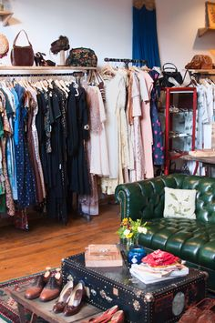 vintage, clothing shop, interior, home, shop, clothes rail, vintage suitcase, shoes, dresses