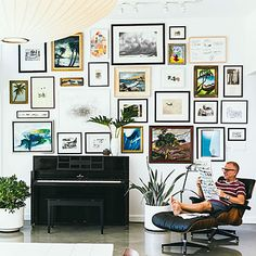 Streamline a gallery wall: Use frames that are the same style/color, or hang them along the same horizontal or vertical axis.