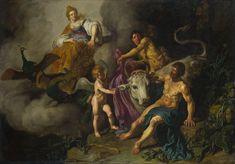 Hera descubre a Zeus con Lo - Pieter Lastman. Ío se había entregado a Zeus, pero fueron sorprendidos por Hera, que vigilaba a su marido carcomida por los celos. El dios, para salvar a la joven, la convirtió en una ternera blanca. Hera exigió a su esposo que se la entregase y ordenó al gigante de cien ojos Argos Panoptes que la vigilara.