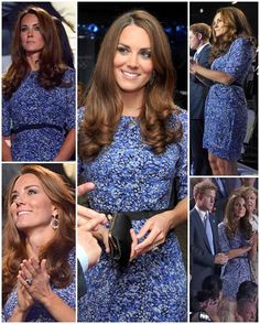 What Kate wore to the Olympic Closing Ceremony in London The Duchess rewore the 'Bella' dress by Whistles as she watched on with Prince Harry. She also carried her Anya Hindmarch 'Maud' clutch and wore Kiki McDonough hooped earrings. Kate Middleton Pregnant, Princess Kate Middleton, Kate Middleton Style, Pippa Middleton, Princess Diana, Diana Spencer, Prince William And Kate, William Kate, Duke And Duchess