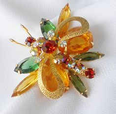 Juliana Brooch Rare Butterfly Glass Rhinestones Quality Collectible. $74.99, via Etsy.