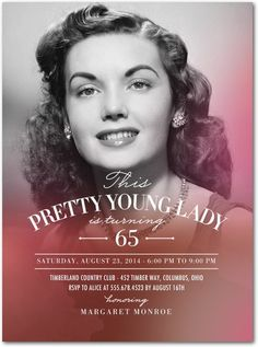 """""""Luminous Lady"""" Adult Birthday Party Invitations in Lipstick 