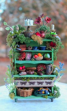 Reserved, please don't buy-Dollhouse Miniature Fairy Essentials Cabinet Layway… Miniature Fairy Gardens, Miniature Dolls, Party Fiesta, Fairy Furniture, Dollhouse Furniture, Fairy Crafts, Fairy Garden Houses, Fairy Doors, Fairy Garden Accessories