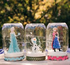 Let it snow all year long with Frozen-inspired snow globes, featuring Elsa, Anna, and Olaf.