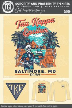 Tau Kappa Epsilon shirts by TGI Greek! sorority apparel, sorority shirts, custom shirts, custom sorority shirts, custom fraternity apparel, custom tees, fraternity shirts, fraternity tshirts, fraternity rush, fraternity recruitment, fraternity design, skeleton, palm tree, beach, canoe, hand drawn #fratenrityrush #fraternitydesign #fraternityshirts #fraternitypr #taukappaepsilon #tgigreek Sorority Outfits, Sorority Shirts, Tee Shirts, Fraternity Rush Shirts, Sorority And Fraternity, Pi Kappa Alpha, Bid Day, Custom Tees, College Life