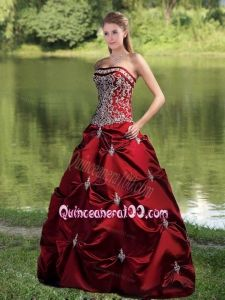 Strapless Ball Gown Wine Red Quinceanera Dress with Embroidery