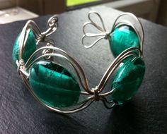 Turquoise Glass Foil Bead Cuff Bracelet £10.00