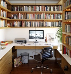 White desk-top with timber shelving and drawers