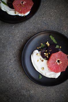 grapfruit & beet salad w/yogurt, pistachio & tarragon