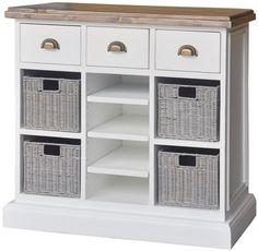 Rowico Lulworth White Brush 3 Drawer 4 Baskets 3 Shelves Storage Chest with Wine Rack