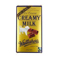 Whittaker's Creamy Milk Chocolate New Zealand Food, Cocoa, Milk, Chocolate, Madagascar, Chocolates, Theobroma Cacao, Hot Chocolate, Brown