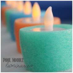Awesome pool storage ideas - pool luminaries made from pool noodles and tea lights. Love it!