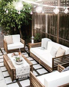 ce mobilier de salon outdoor est parfait pour donner une ambiance boheme a la terrasse salon