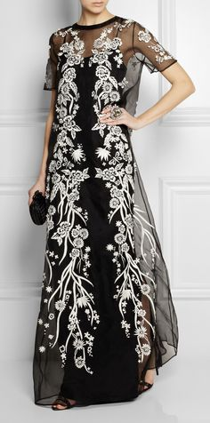 embroidered gown. White thread on black organza.